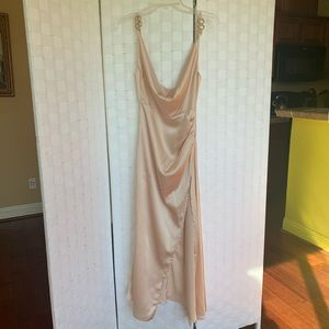 Champagne Satin Cowl Gold Snake Buckle Detail Maxi